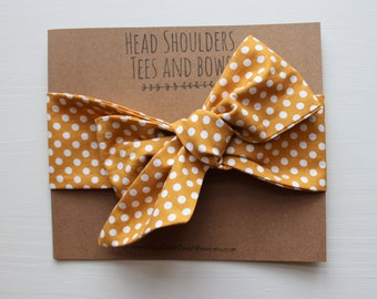 Dark Mustard and Polka Dot Head Wrap