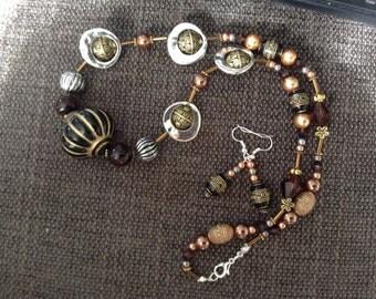 Necklace Earrings Tribal Bronze Beads
