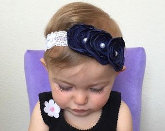 navy blue baby headband- navy and white headband- navy and white newborn headband-navy vintage lace headband- navy blue and white baby bow-