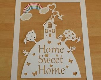 INGELIJSTE Home Sweet Home papier snijden met kleurrijke regenboog, huis opwarming van de aarde cadeau, nieuwe huis cadeau, home decor, nieuw huis aanwezig, als eerste thuis cadeau