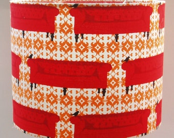 Graphic Print Red & Orange Drum Ceiling Lampshade (Medium)
