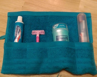 Travel Toiletry Roll Teal, Travel Toothbrush Roll,  Gym Bag Roll,  Toothbrush Holder,  Camping,  Overnight,  Make Up Brush Roll