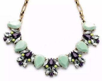 CREW Style Necklace, Colorful Crystal Bib Necklace, purple and green crystal statement necklace, antique brass link chain, 196, ships USA