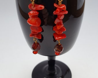 13005E Red Coral, Glass and Crystal Earrings