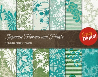Japanese Pattern Flowers and Plants Digital Papers Vol. 12 12pcs 300dpi Digital Download Collage Sheets Scrapbooking Asian Printable Paper