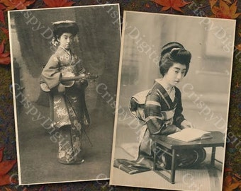 Geisha Postcard Set of Two Japanese Printable Digital Download