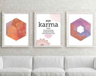 Downloadable Prints, Karma, Set of 3 Prints, 3 Print Set, Yoga print set, Sacred Geometry, Mandala Art, Mandalas, Zen Art, Boho, Yoga Art