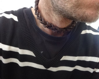 celtic necklace triple braid, triple braided leather necklace mens leather choker necklace black leather brown leather mens gift for him