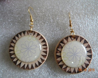 earrings natural wooden circle