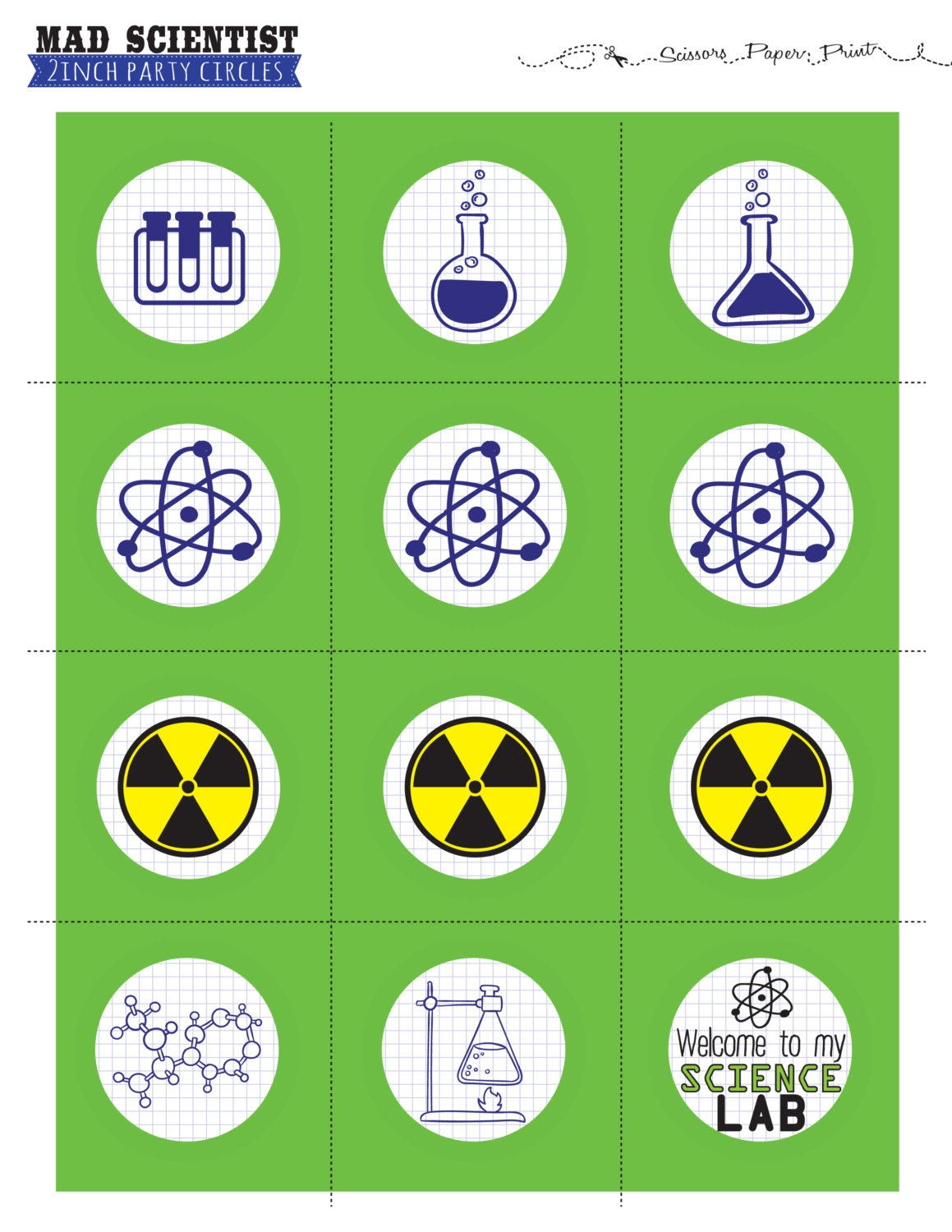 Mad Scientist cupcake topper Science Party decorations