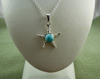 Larimar Thin Hammered Starfish on Sterling Silver Necklace