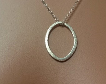 Sterling Silver Brushed Satin Oval Necklace