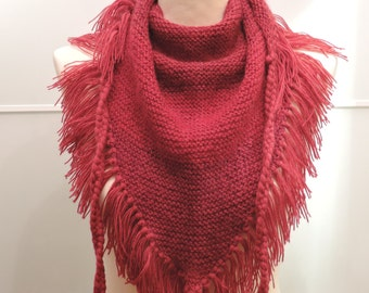 Red Hand Knit Baktus Scarf