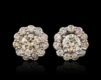 ON SALE * Estate 14kt White Gold Cluster Diamond Earrings 2.16 cts Total