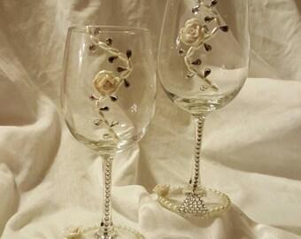 Ceramic rose glass set