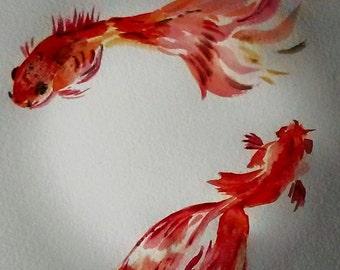 watercolor gold fish painting Original copy