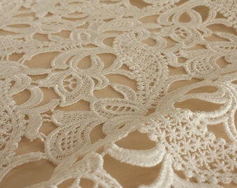 Guipure lace fabric, French Lace, Embroidered lace, Wedding Lace, Bridal lace, Ivory Lace, Veil lace, Lingerie Lace Chantilly Lace B000019