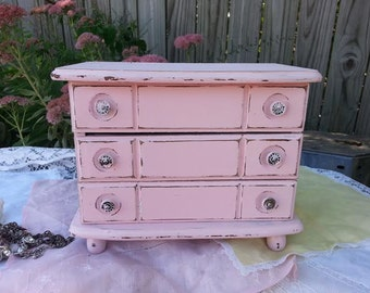 Pink Jewelry Box - Upcycled Pastel Pink Jewelry Box - Distressed Wooden Jewelry Box - Small Wood Jewelry Box