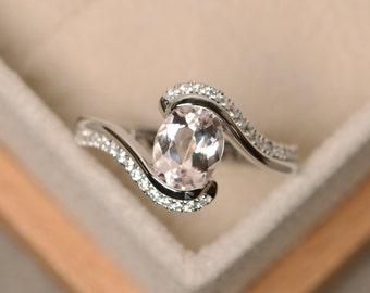Morganite ring, pink morganite, oval cut ring, morganite, morganite engagement ring