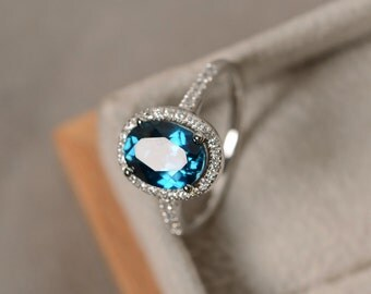 london blue topaz ring oval gemstone sterling silver halo ring engagement ring - Topaz Wedding Ring