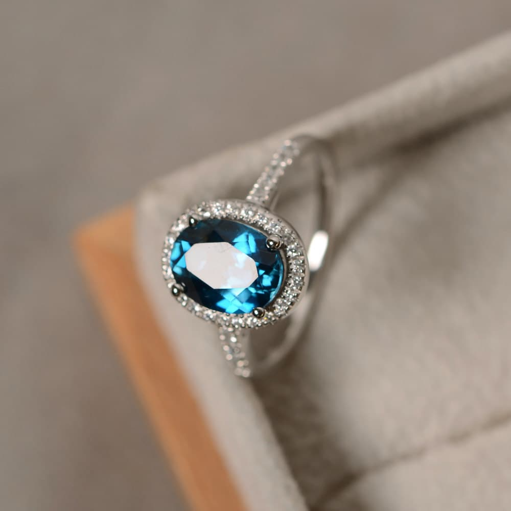 Stone Wedding Rings: London Blue Topaz Ring Oval Gemstone Sterling Silver Halo