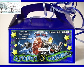 SKYLANDER Trap Team Birthday Goody Favor Box Personalized with any name and date