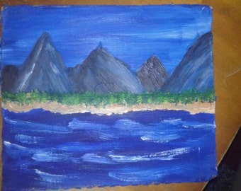 Original mountains on the beach oil landscape painting