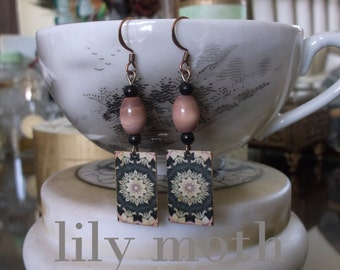 Pattern Earrings with Vintage Beads