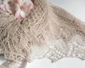 Ode Hand Knitted Lace Shawl. Knitting Triangular Shawl, Cashmere Shawl, Wedding Shawl. Openwork Shawl. Made To Order. Bridal Wrap