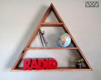 Large Triangle Display Shelf,  geometric shelving, triangle shelf, triangle shelf, triangle wood shelf, wooden shelves, entryway organizer