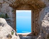 Wall art, Greece, Aegean Sea, FORTRESS AT NAFPLIO, photograph custom printed on fine art paper, signed, blue, water, seaside, modern art