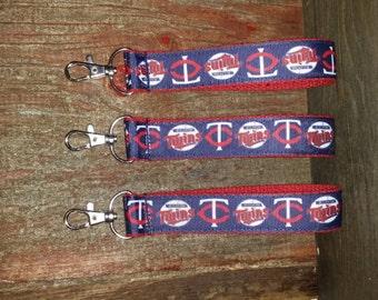 Handmade Minnesota Twins Wristlet Key FOB.