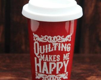 Quilting Makes Me Happy Latte Mug
