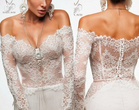 Long Sleeve Wedding Dress NAOMI Simple By RaraAvisAngeEtoiles
