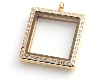SQUARE Floating Locket, Gold Glass Lockets, Memory Locket With Crystals, Stainless Steel Locket