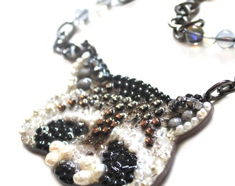 Cute Raccoon Necklace Coon Gift Racoon Jewelry : Handmade Necklace of natural stones and beads