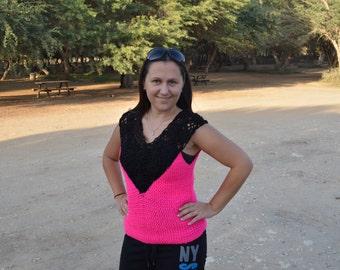 Pink and black vest