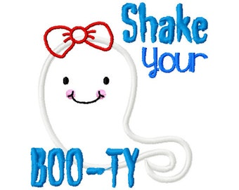 Shake your booty embroidery design, 4x4 5x7 ghost embroidery design, shake your booty, embroidery design