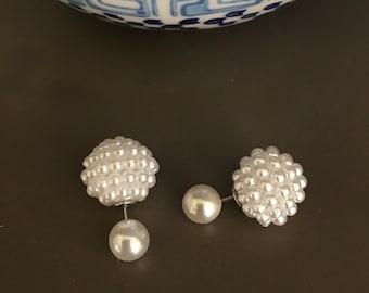 Double sided pearl earrings, pearl cluster earrings, double sided earrings, pearl earrings