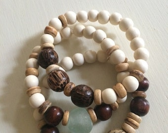 Sea glass and wood bead boho stack bracelets, set of 3