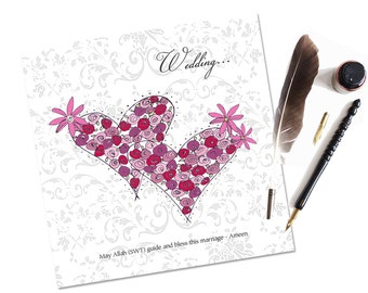 Islamic Wedding Hearts Card