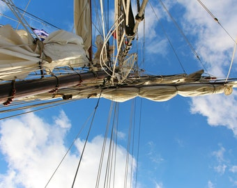 Sails on a Tall Ship in London, England, United Kingdom, Greenwich, Travel Photography, Ocean, Tourism, Print