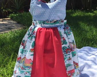 "3T farm girls dress /shoulder tie sundress / ""Morningside Farm"" by Robert Kaufman girls dress/ vintage style dress"