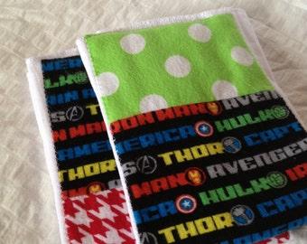 Set of two Marvel Avengers cloth diaper burp cloth!