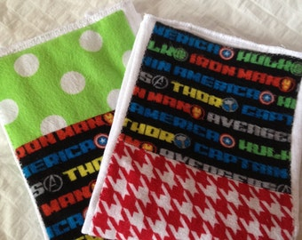 SUMMER SALE!! Set of two Marvel Avengers cloth diaper burp cloth!