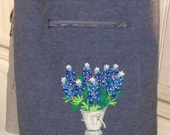 Texas Market Tote Bag Denim Blue Silver Bucket Bluebells lined pockets embroidered carry all washable