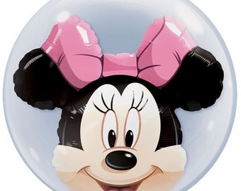 """Minnie Mouse Double Bubble Bubble Balloon, Minnie Mouse Balloon, Minnie Mouse Theme, Disney Theme, Party Decoration, Birthday Party,  22"""""""