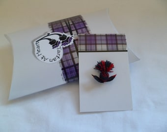 Scottish Tartan Mini Thistle Pin Badge