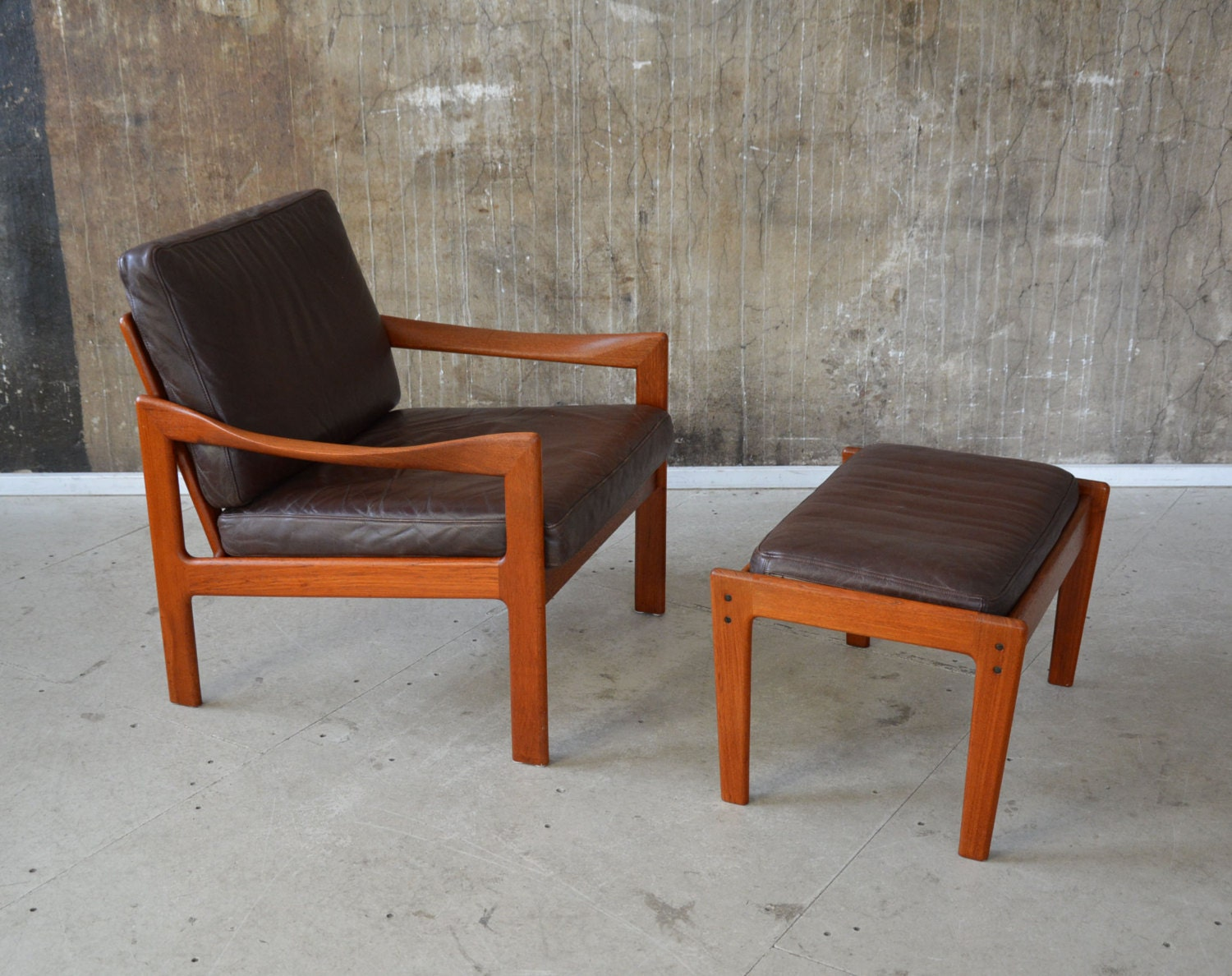 60er illum wikkelso teak sessel hocker n eilersen 60s. Black Bedroom Furniture Sets. Home Design Ideas