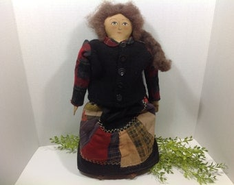 Vintage Hand Made Cloth Doll with Old Clothes
